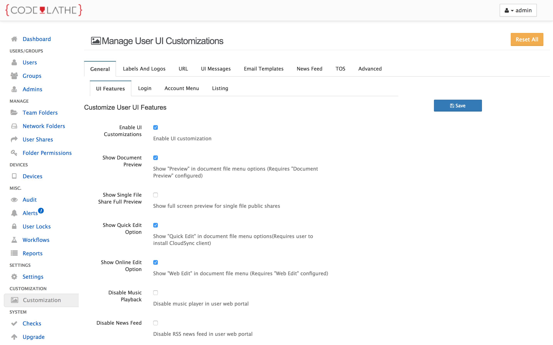 FileCloud admin customization