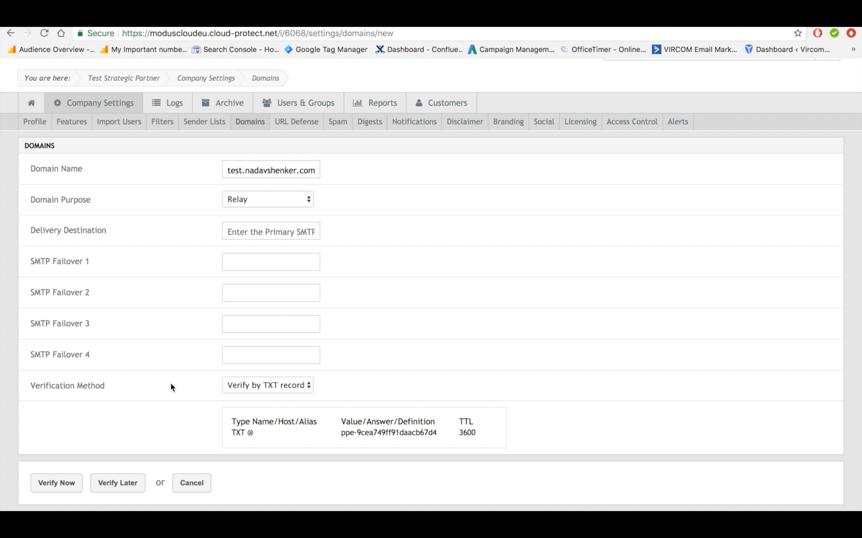 modusCloud Software - Domain management