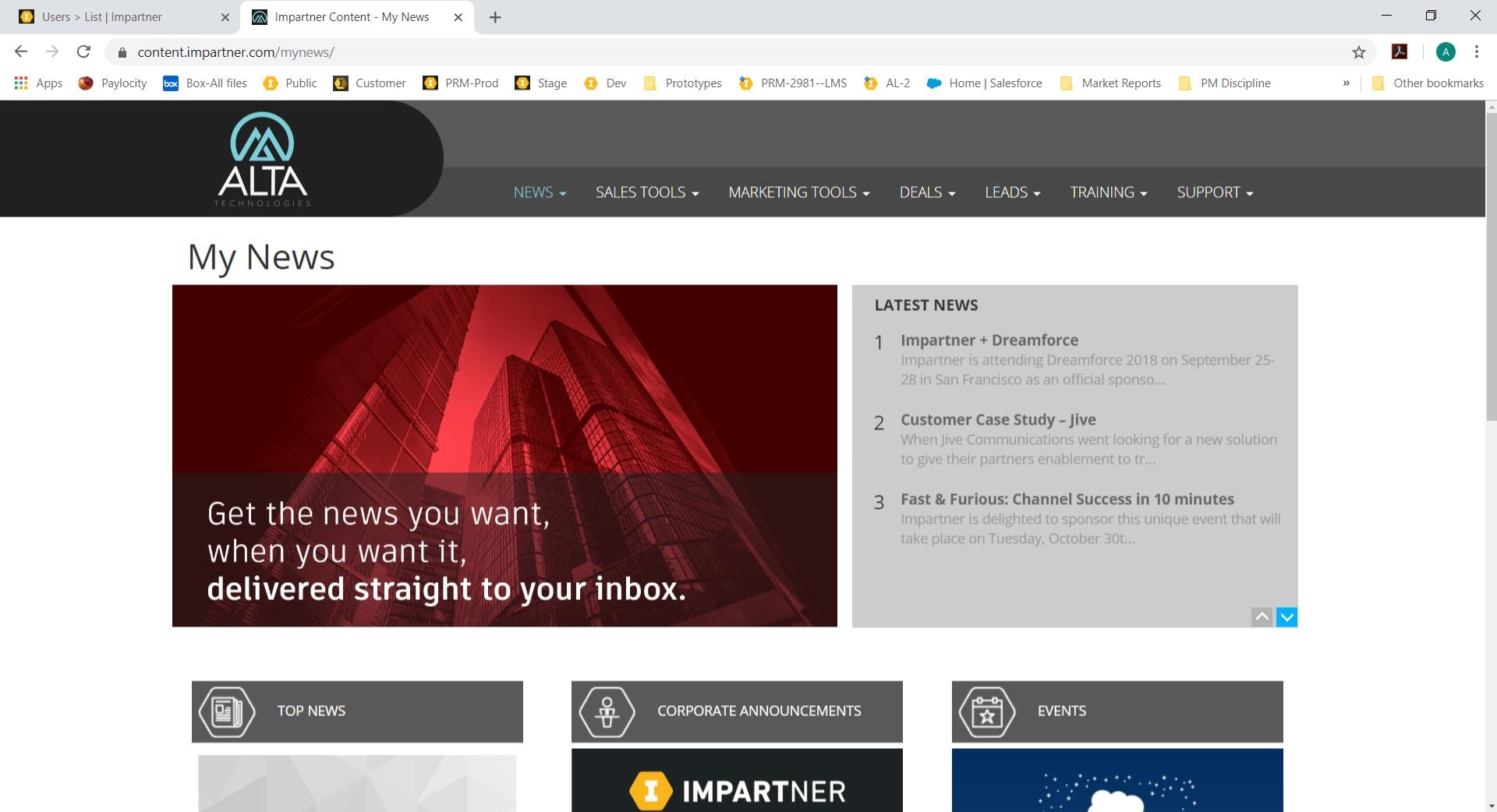 Impartner PRM news screenshot