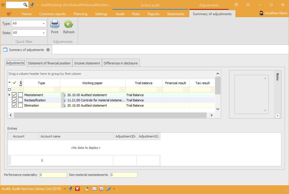 AuditDesktop summary of adjustments