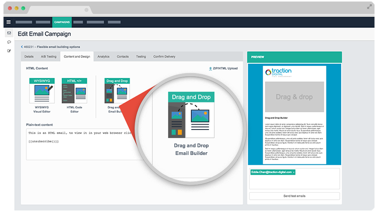 TractionNext provides flexible email building options
