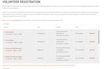 Captura de pantalla de Event Essentials: Volunteer registration with positions, locations, shifts, amounts and descriptions.