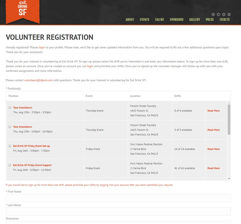 Volunteer registration with positions, locations, shifts, amounts and descriptions.