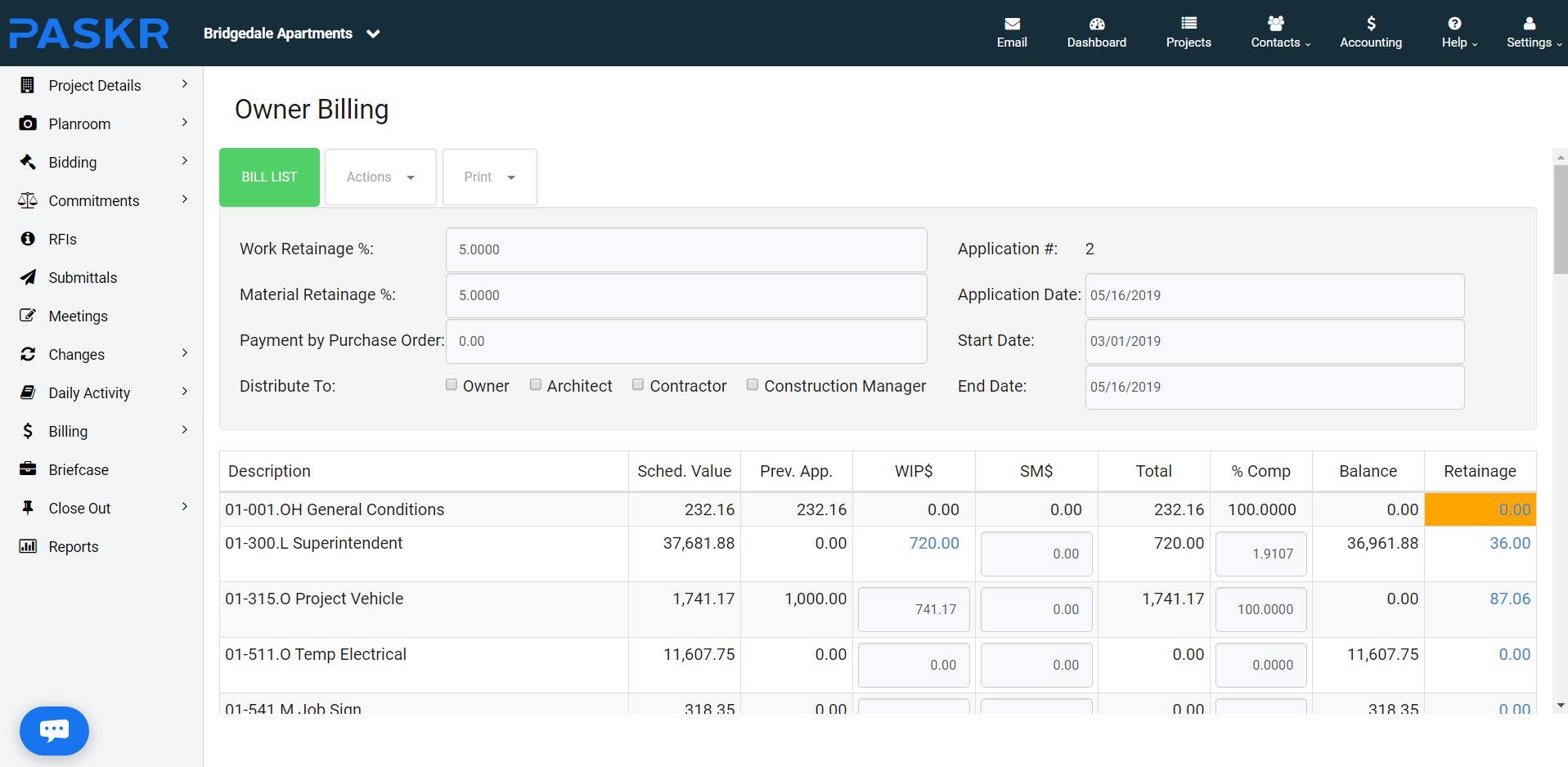 PASKR Software - Owner Billing