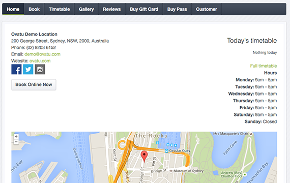 Customers can make online bookings via the business website, or an Ovatu Manager mini-site