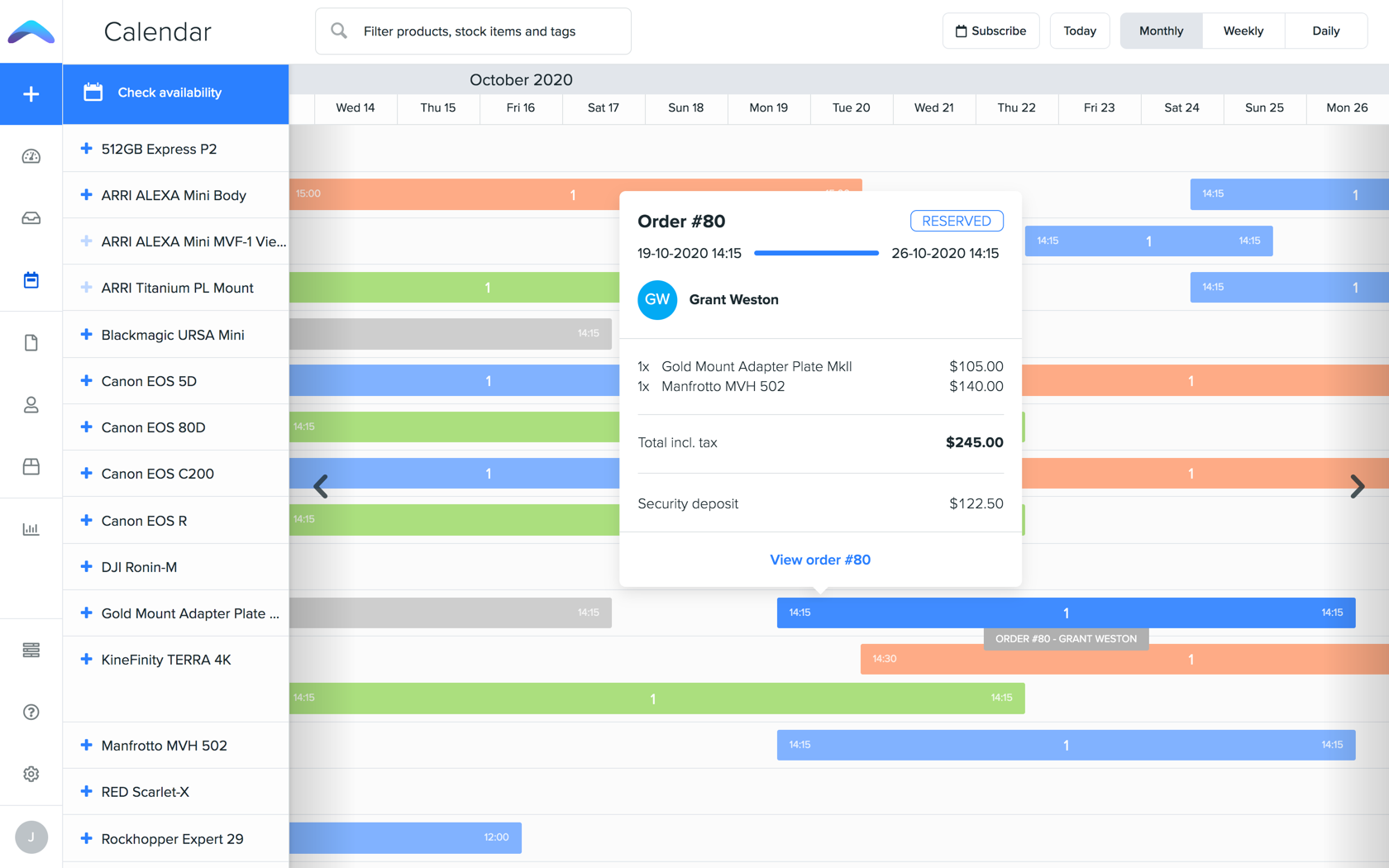 Use the calendar to zoom in on specific items and check availability for any date range.