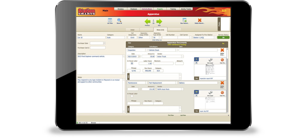 StationSmarts enables the maintenance and tracking of fire fighting apparatus