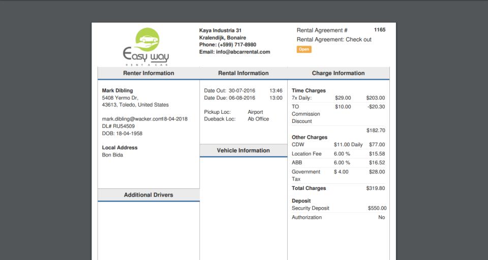 HQ Rental Softwarerental agreement