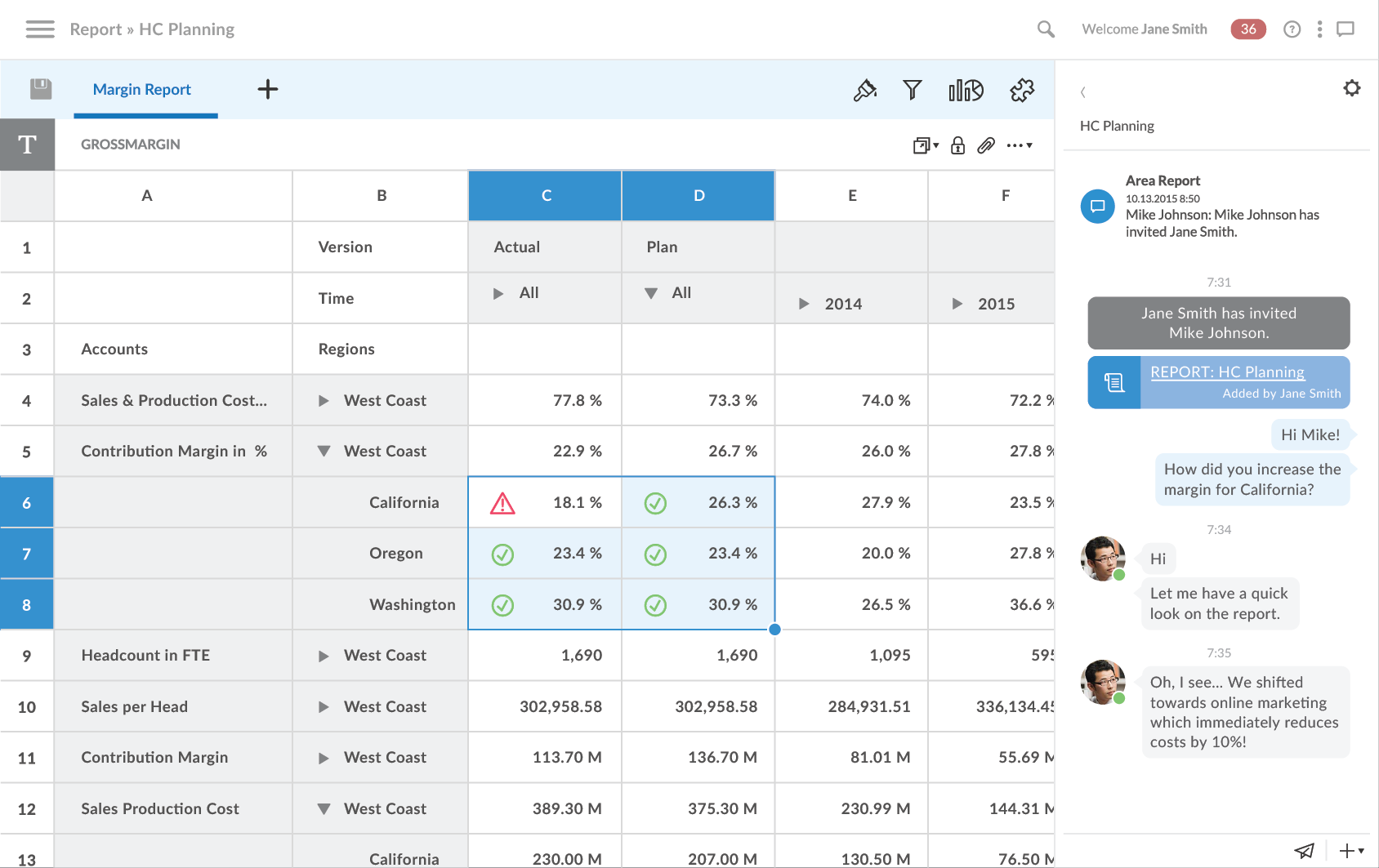 SAP Analytics Cloud showing planning features