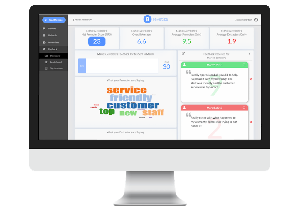 A central dashboard gives users an overview on customer feedback
