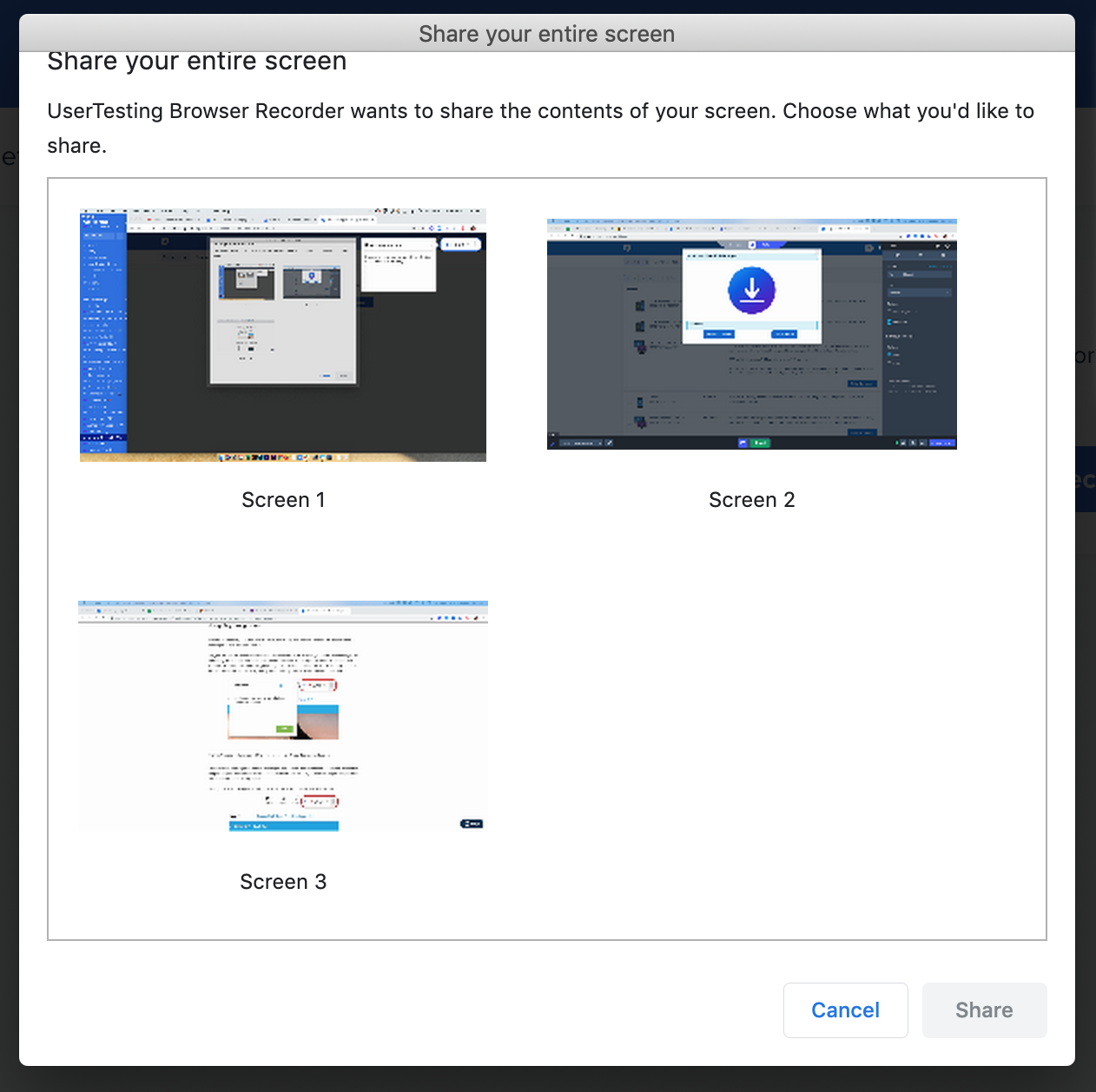 UserTesting screen sharing