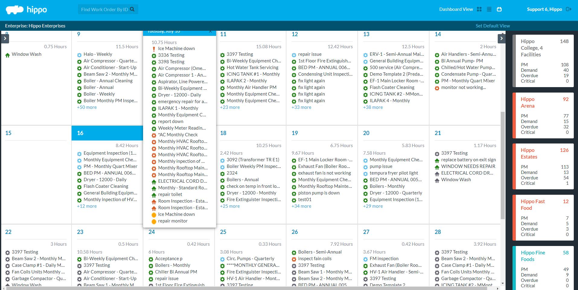 Hippo CMMS Software - PMs on Calendar