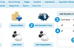 Web Church Connect screenshot: Users can record individual or batch donations in Web Church Connect