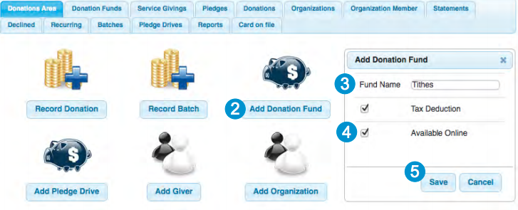 Users can record individual or batch donations in Web Church Connect