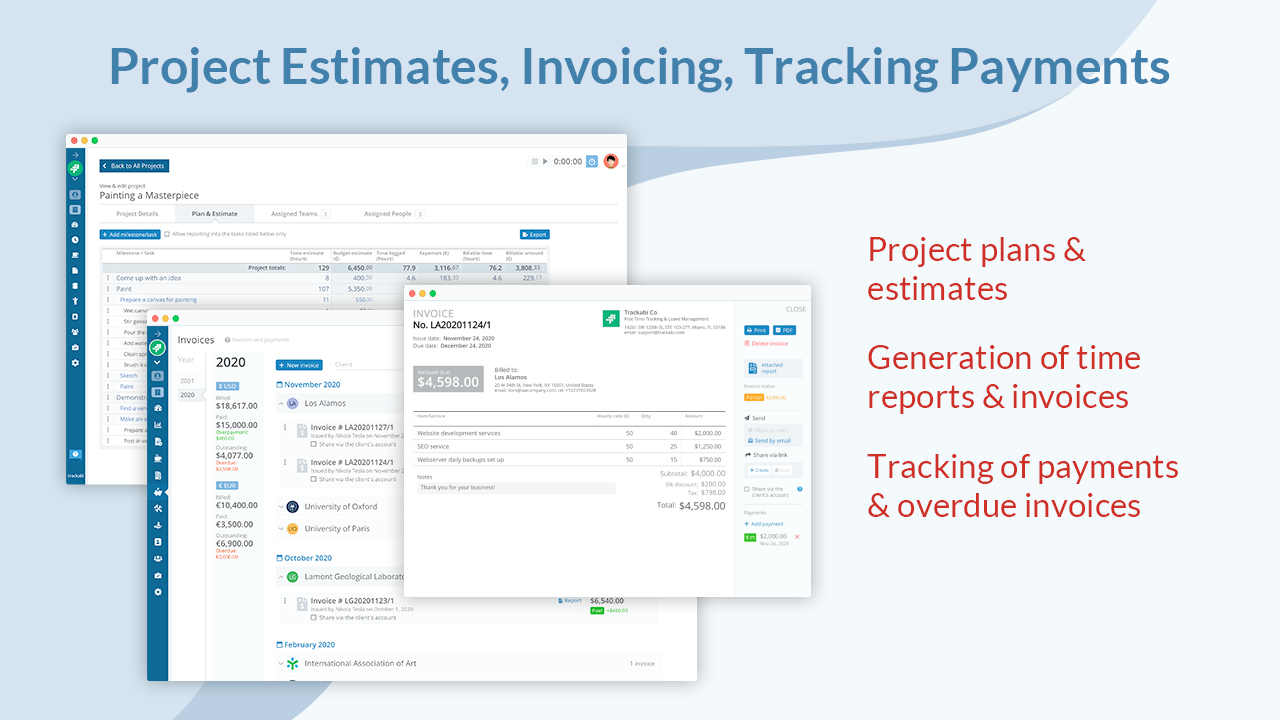 Project Plans & Estimates: Project plans with a breakdown by milestones, tasks, and subtasks allow bottom-up time and budget estimating. Estimated amounts can be matched against real live data from employee timesheets.