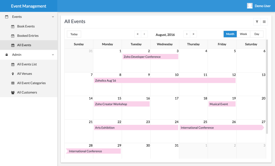 Zoho Creator Software - Event manager
