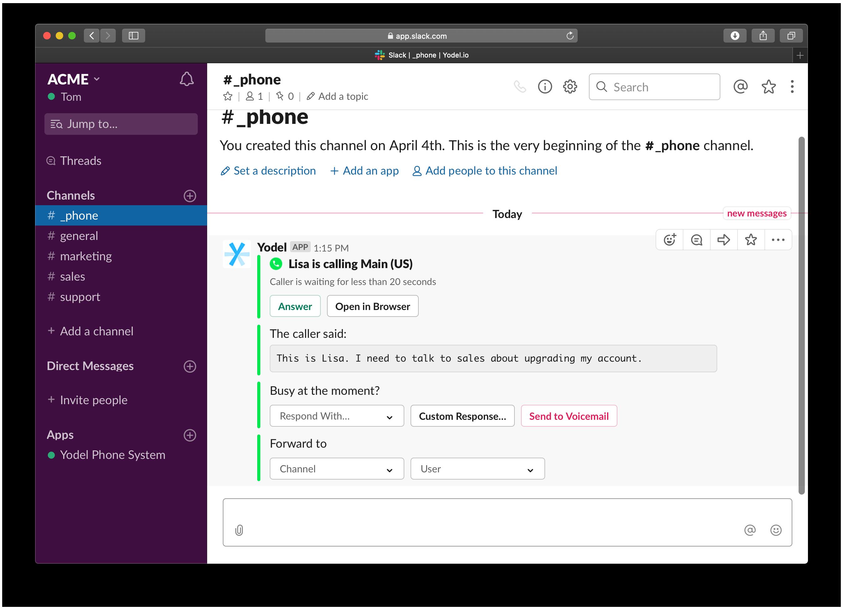 Yodel Slack - waiting inbound call screenshot