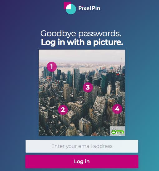 PixelPin login page screenshot
