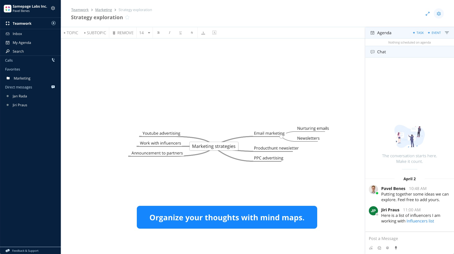 Get most of your brainstorming sessions with mindmaps. Quickly write down all your thoughts, then assign tasks and share the document with anyone.