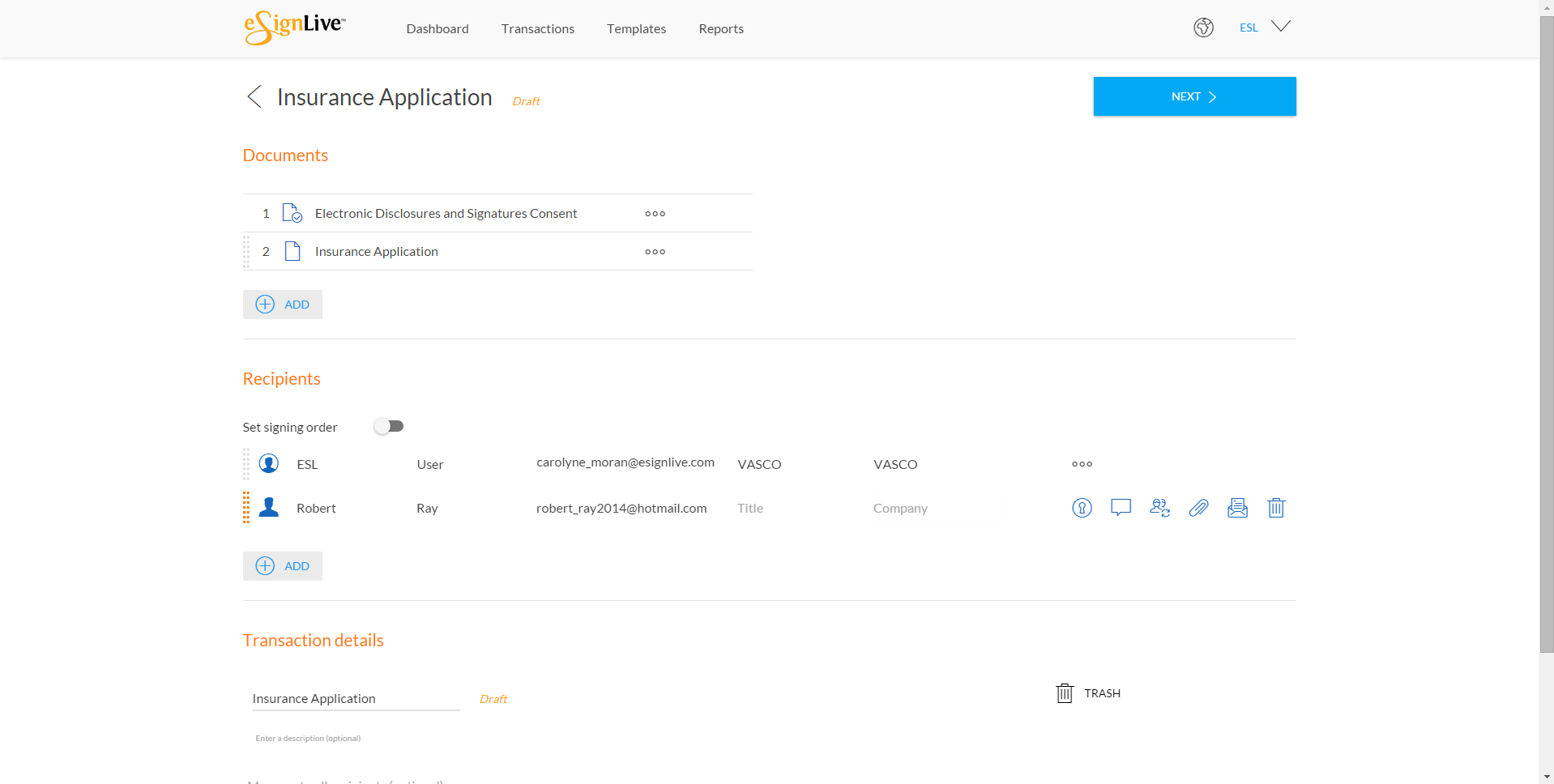 Add documents and recipients