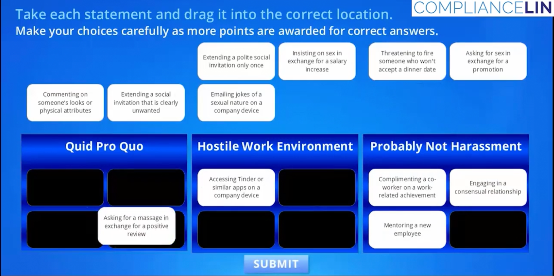 In the middle of the videos, the viewer's knowledge will be reinforced by participating in small little games such as this one in which the user much match the scenario with the correct type of misconduct.
