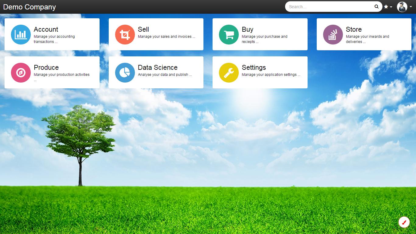OnCloudERP homepage screenshot