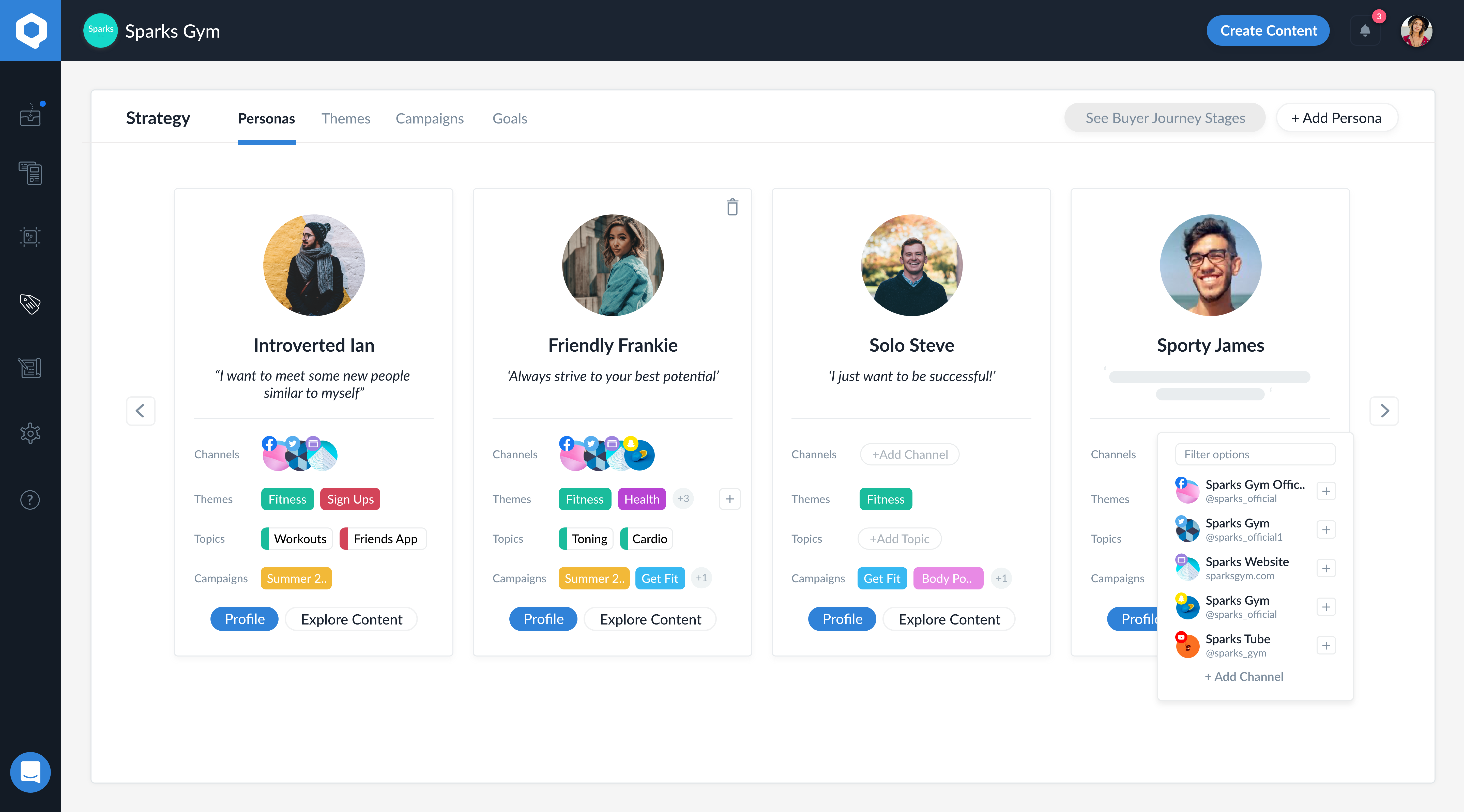 Built in Persona Builder allows you to quickly and easily tag buyer personas, set the buyer journey stage, add themes, topics, products, campaigns and goals