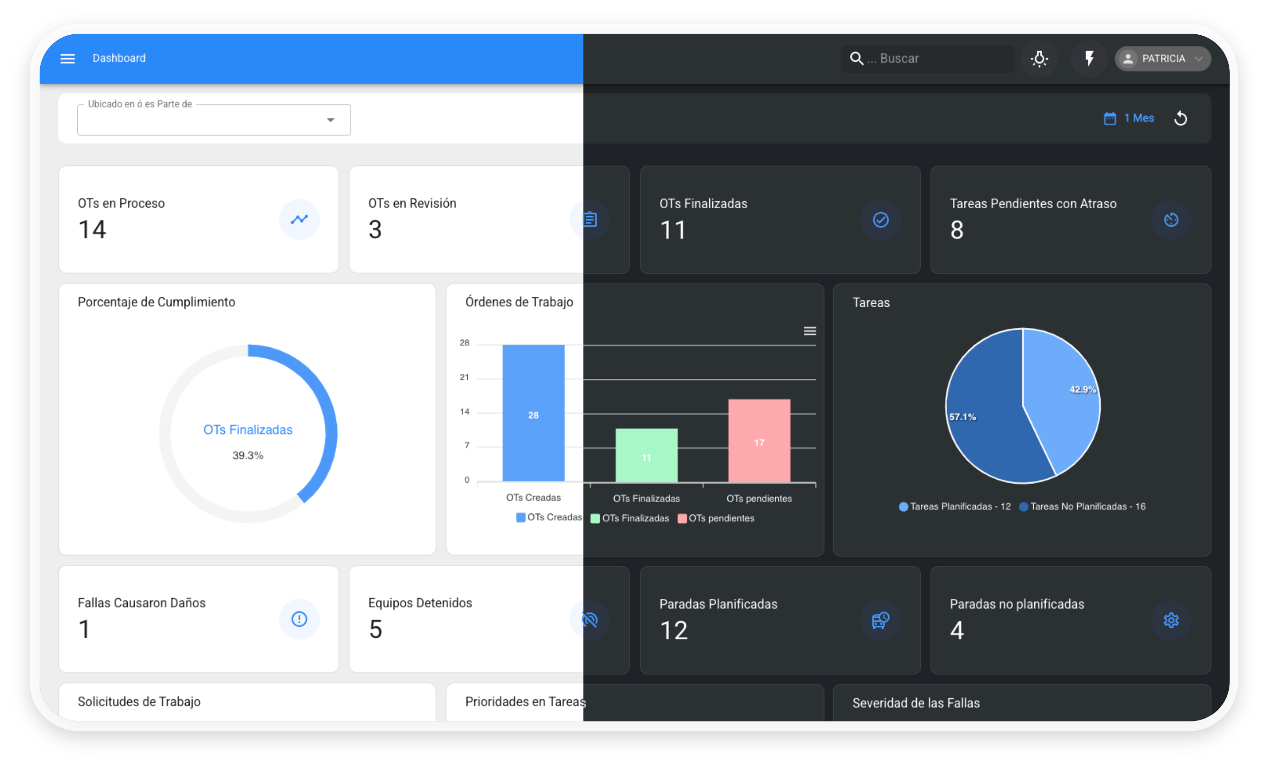 Visualize the management of your assets from the same place. Light or dark mode, you choose