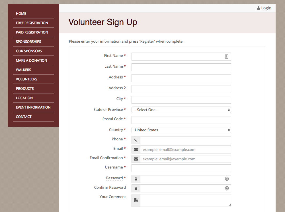 Volunteer signups can be managed through the event site