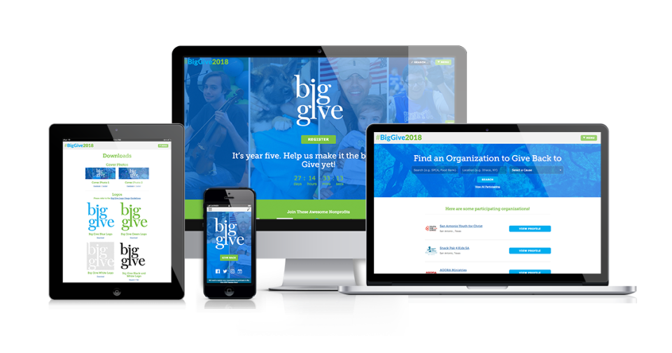 GiveGab: Desktop, laptop, tablet and mobile access
