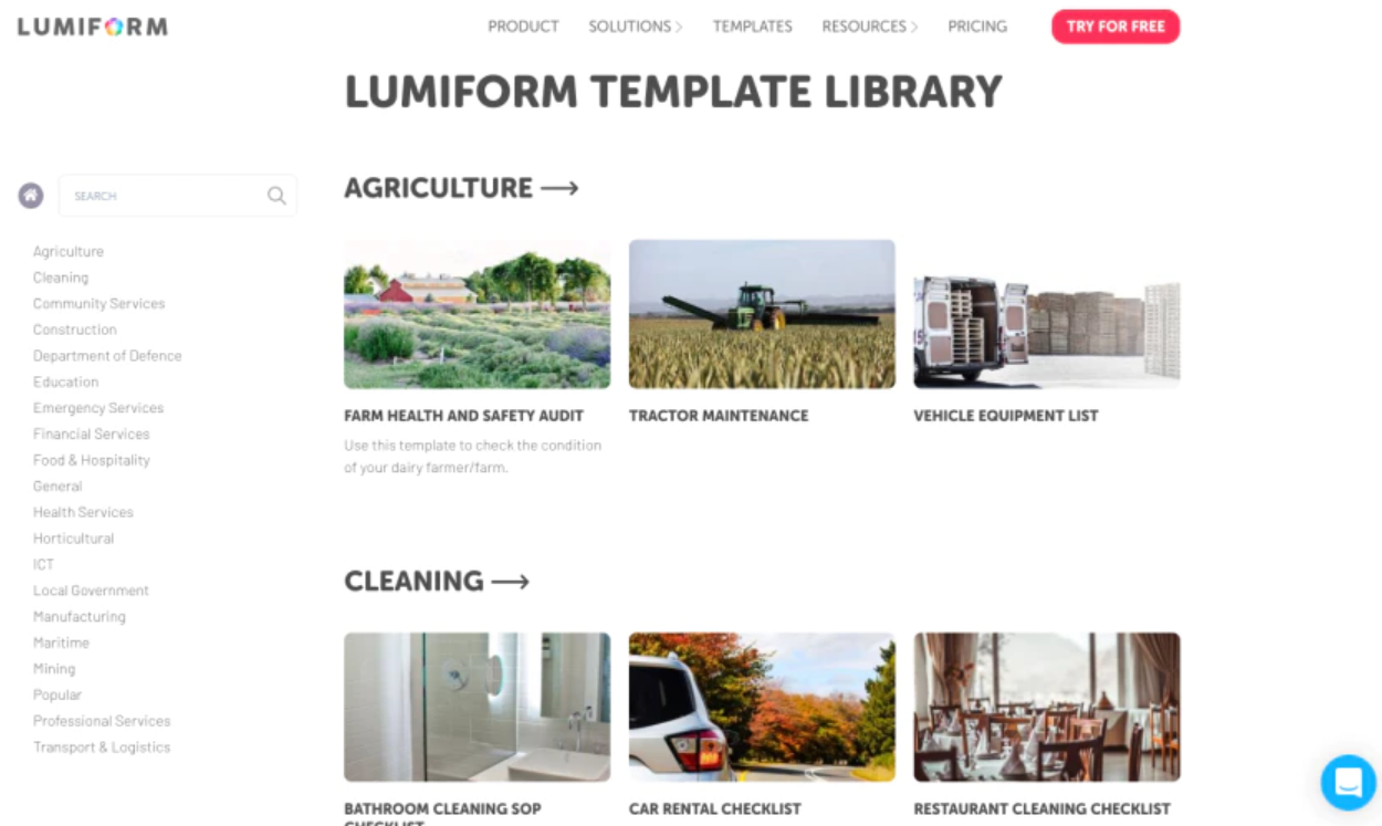 Lumiform template library