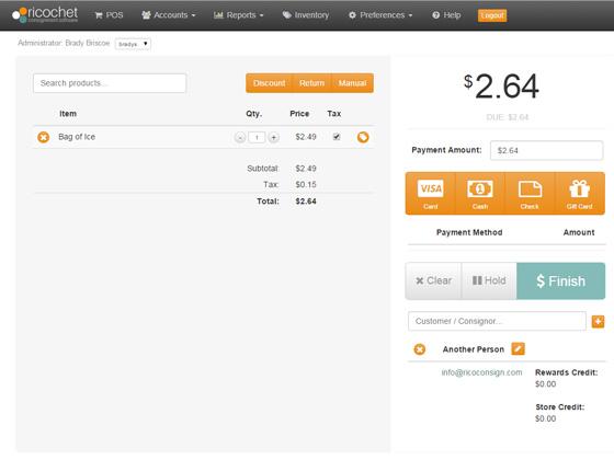 Ricochet Software - Check out screen