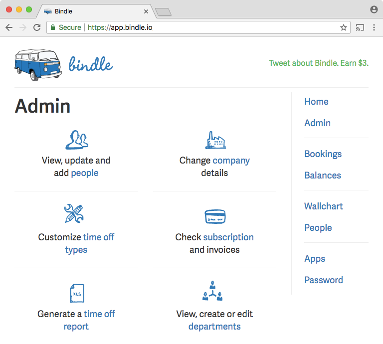 Admins can add employees, create their own holiday calendars, and generate time off reports in Bindle