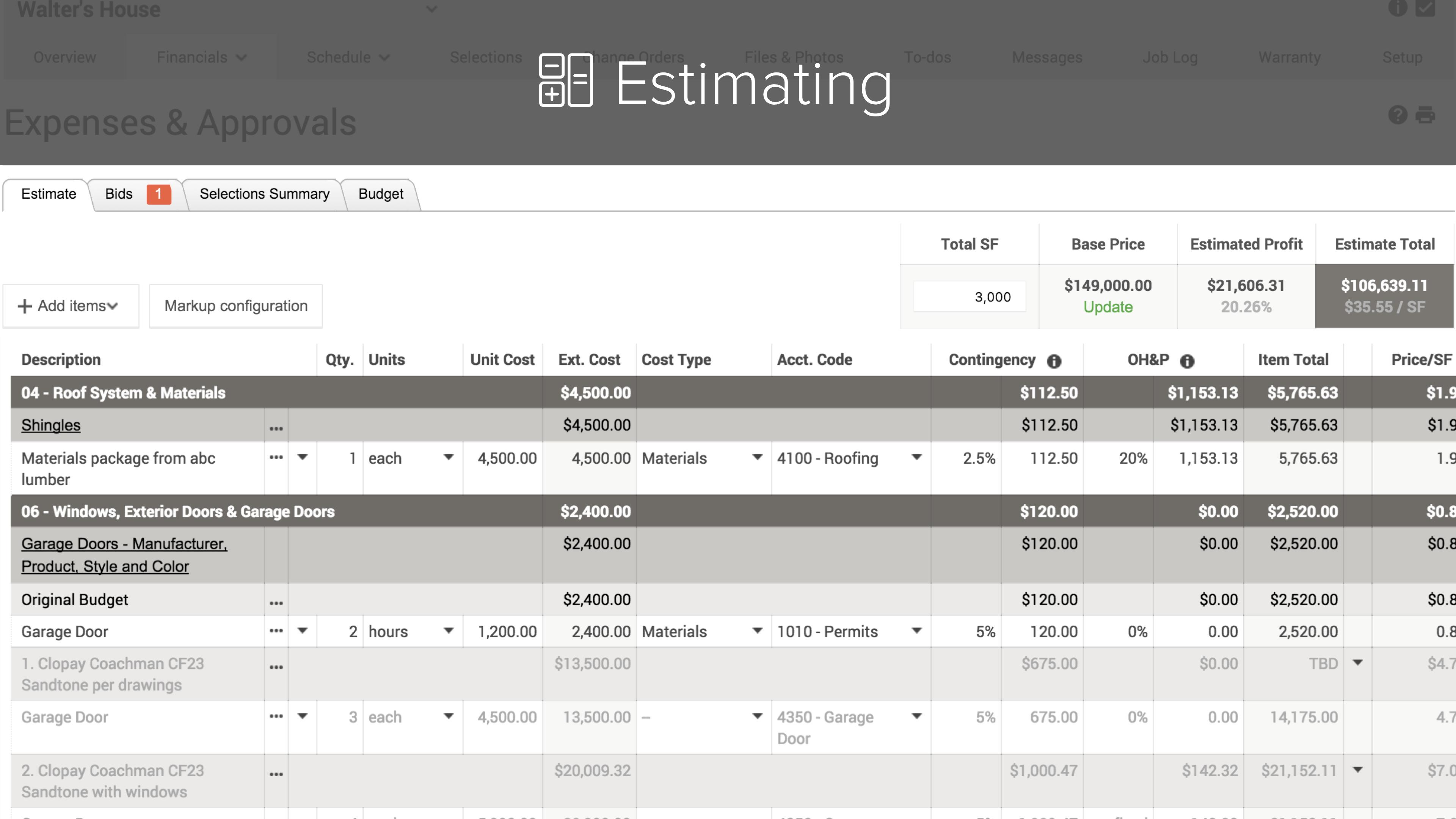 CoConstruct Software - Estimating