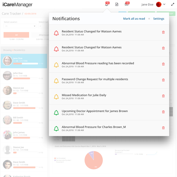 The Alerts & Notification Center highlights certain critical events and reminders such as status changes, upcoming appointments and missed medications etc