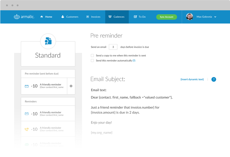 Manage custom workflows and set up automated payment reminders