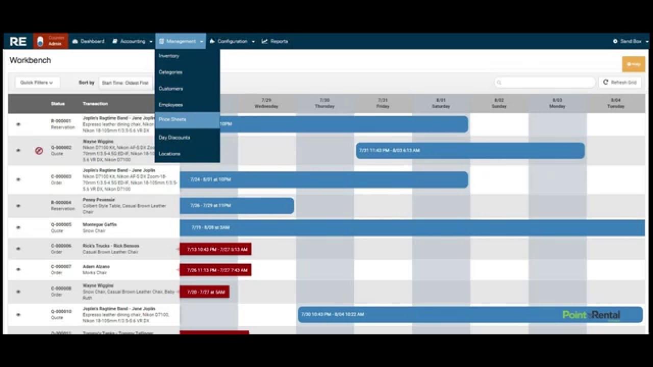 Rental Essentials scheduling dashboard screenshot