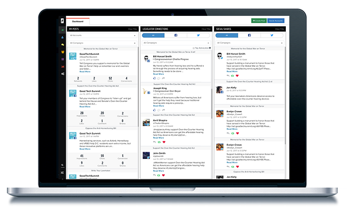 SocialPulse is an integrated tool for social media sharing of campaigns, tracking outreach and monitoring legistlative connections being established in real time