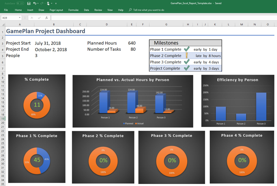 GamePlan Software - An example Excel template