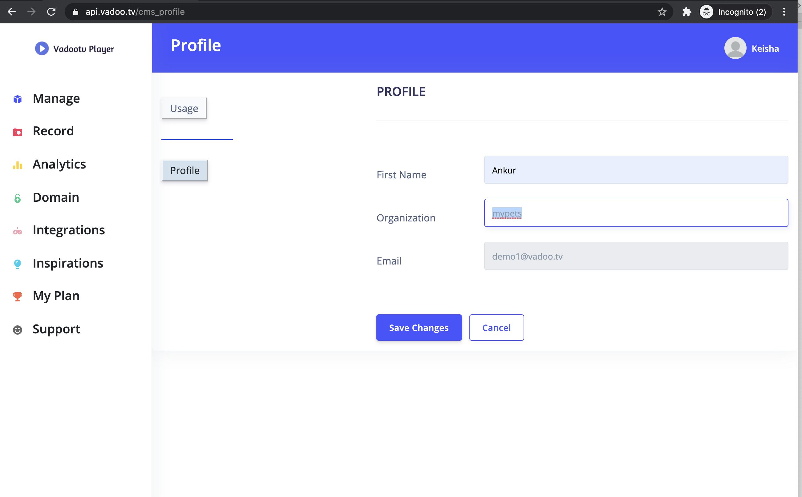 Vadoo creating a profile