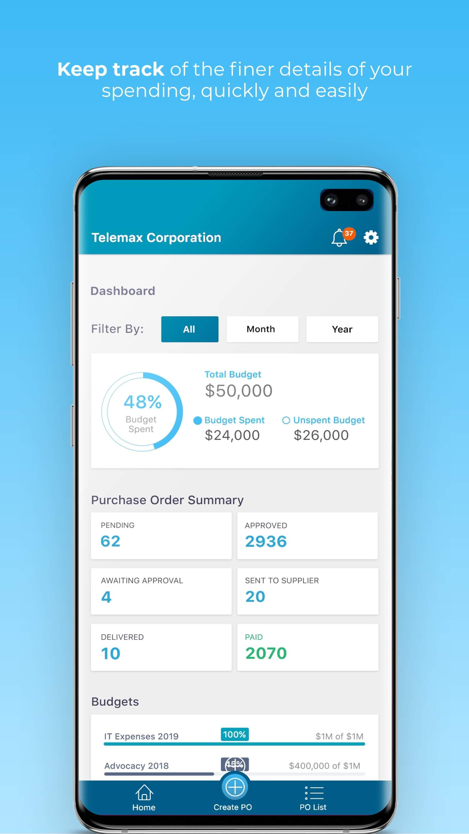Keep track of department spend from the Webapp or mobile app.