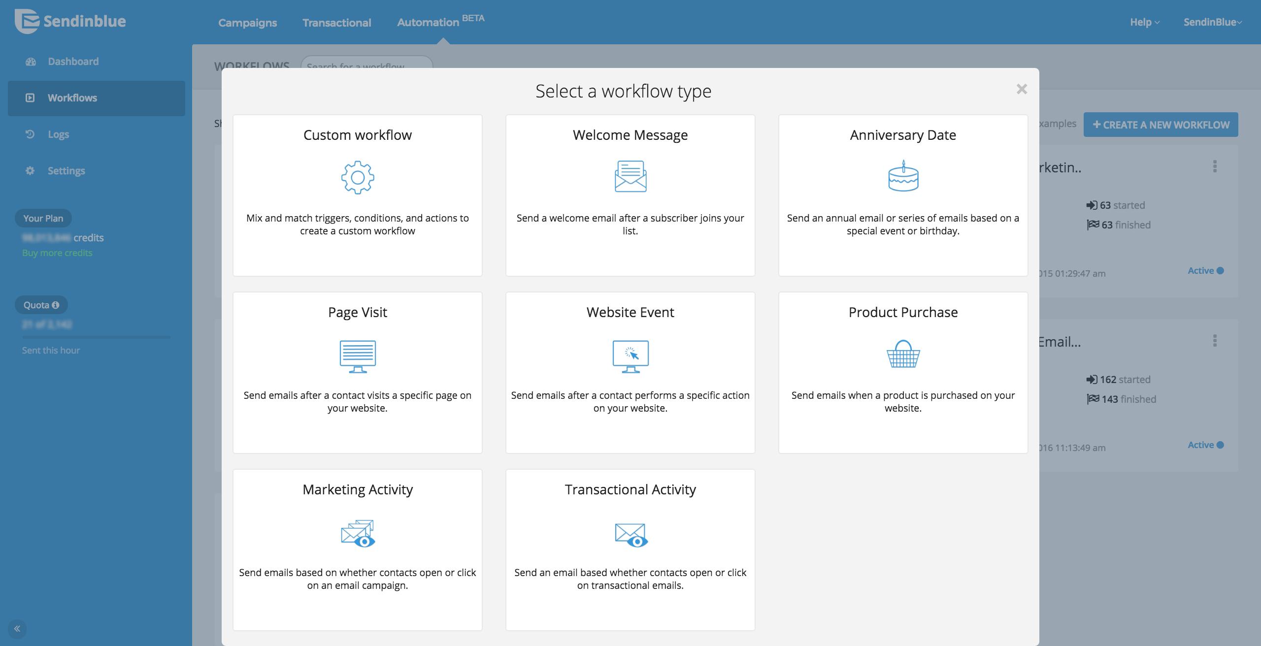 Sendinblue Software - Marketing automation workflow templates