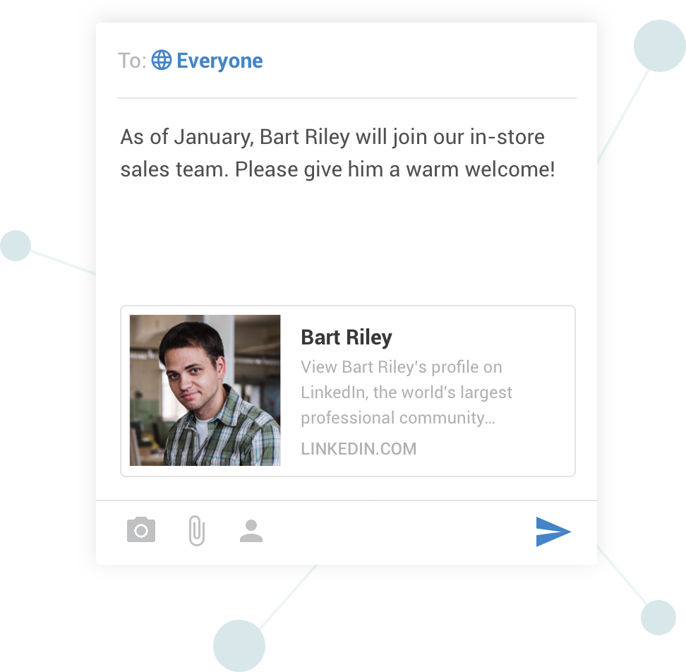 Reach all employees instantly with a single message to share important news or updates