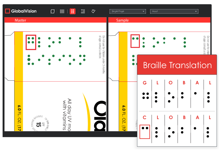 Digitally verify Braille with GlobalVision's Braille translator software