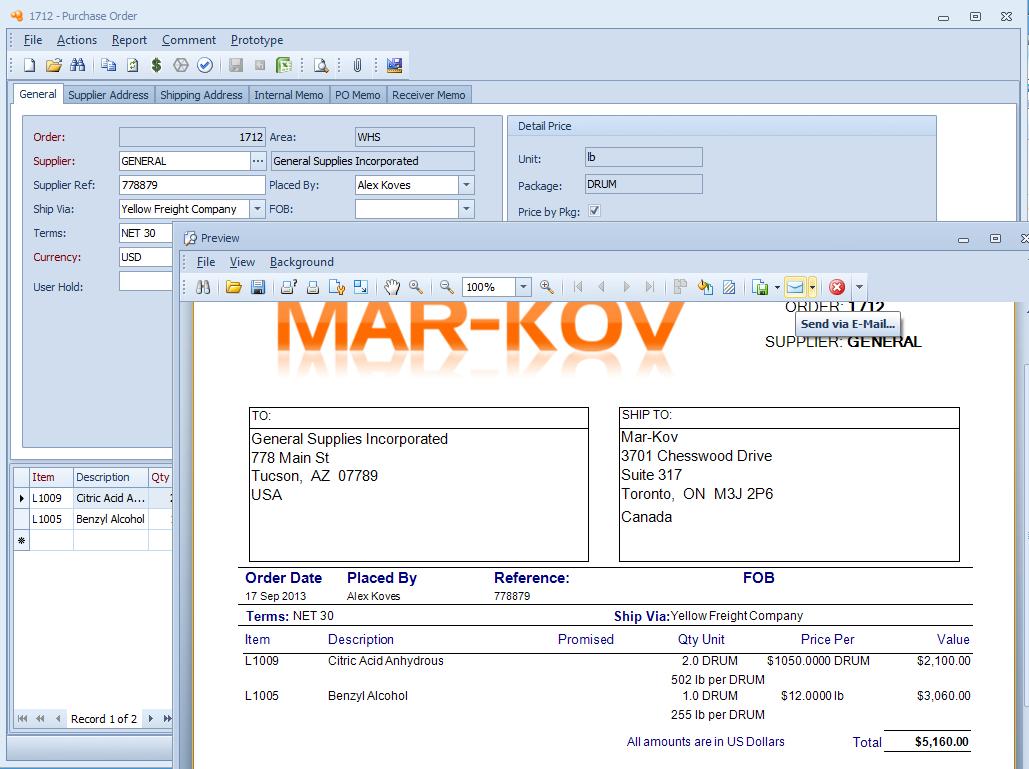 Mar-Kov Chemical Management System Software - Purchase order