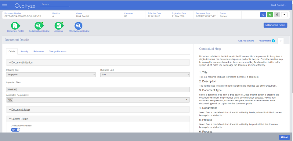 Document management includes tools for creation, collaboration, review, approval and archiving