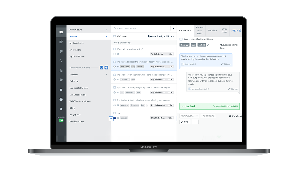 Case management tools allow users to track customer issues
