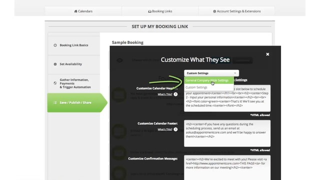 Customizing booking link