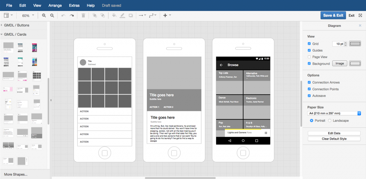 Create mockups of application interfaces and mobile websites to optimize their usability