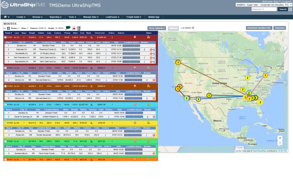 View a summary of routes and visualize them on a map